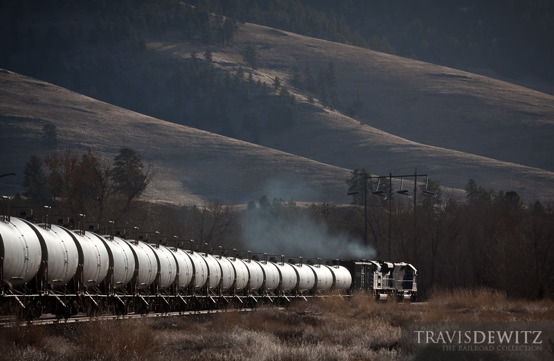 The Montana Rail Link gas local glides east towards Missoula, Montana. Taken at Dixon, MT.