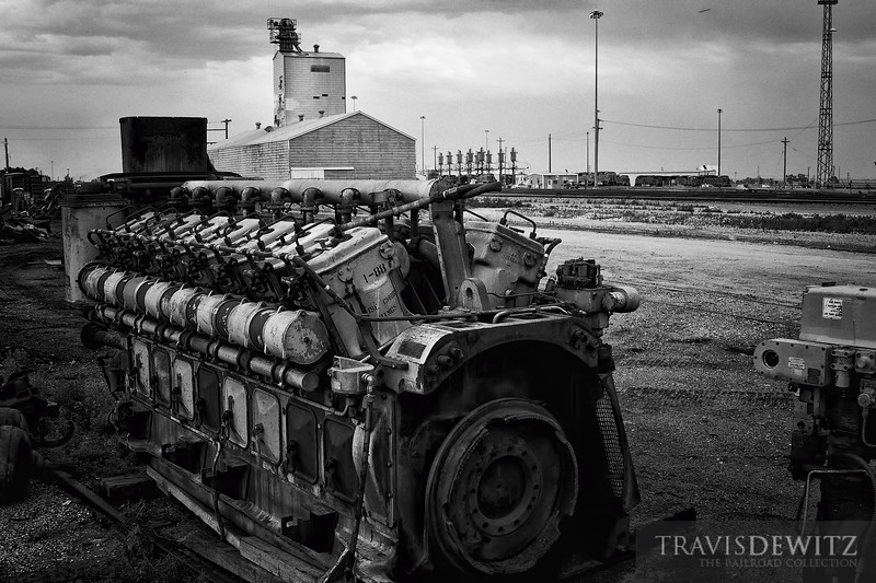 "A GE 7FDL 16 cylinder diesel locomotive engine sits outside of BNSF's Alliance, Nebraska locomotive shops.  Travis Dewitz <a href=""http://www.therailroadcollection.com/latest-works/"" target=""_blank"">The Railroad Collection</a>"