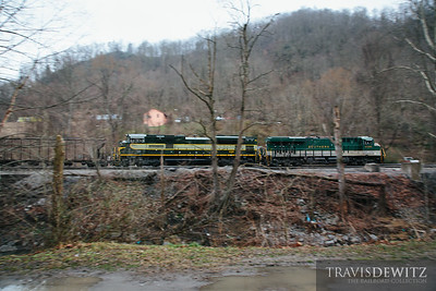 Two Norfolk Southern heritage units are assigned as helpers as they work this coal train through Welch towards Bluefield, West Virginia.