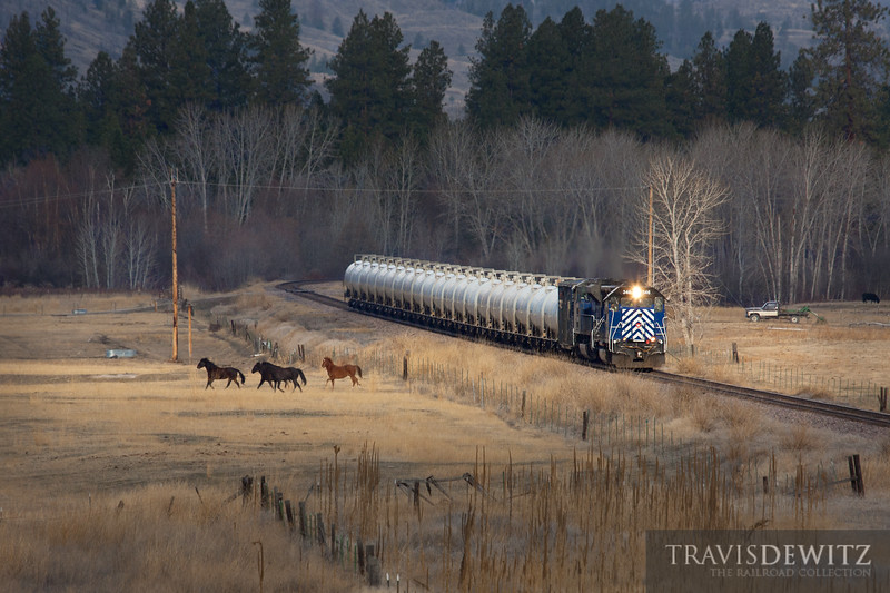 The MRL gas local runs east through a Montana ranch as it nears Dixon.