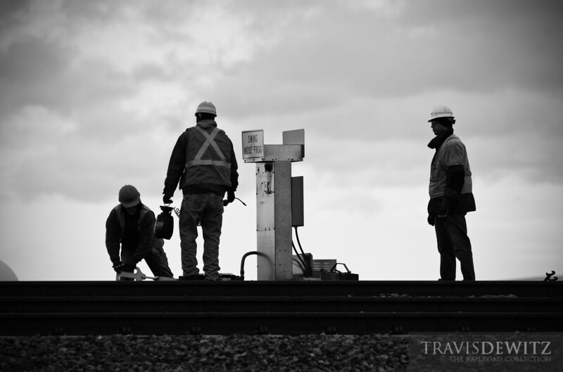 """BNSF MOW workers take care of a switch a few miles north of Reno Junction on the Orin Sub.  Travis Dewitz <a href=""""http://www.therailroadcollection.com/latest-works/"""" target=""""_blank"""">The Railroad Collection</a>"""
