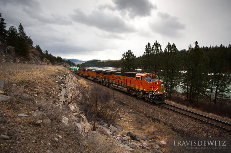 Westbound Boeing plane bodies on a BNSF trackage right train over Montana Rail Link in ironocally, Plains, Montana.
