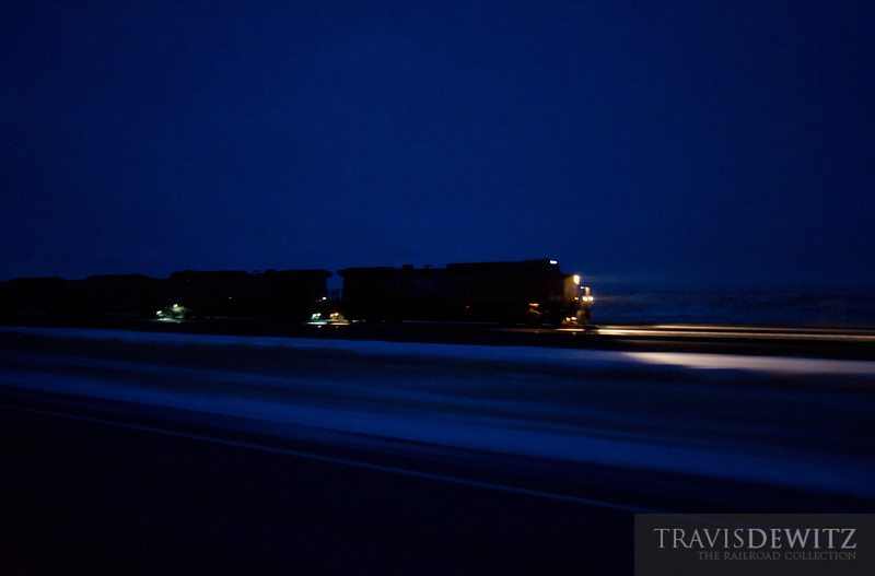 """Pacing a Union Pacific coal train charging east just out of Shawnee, Wyoming.  Travis Dewitz <a href=""""http://www.therailroadcollection.com/latest-works/"""" target=""""_blank"""">The Railroad Collection</a>"""