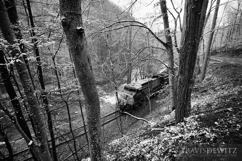 A coal train moves through the woods along Loup Creek up to the Pax coal loadout.