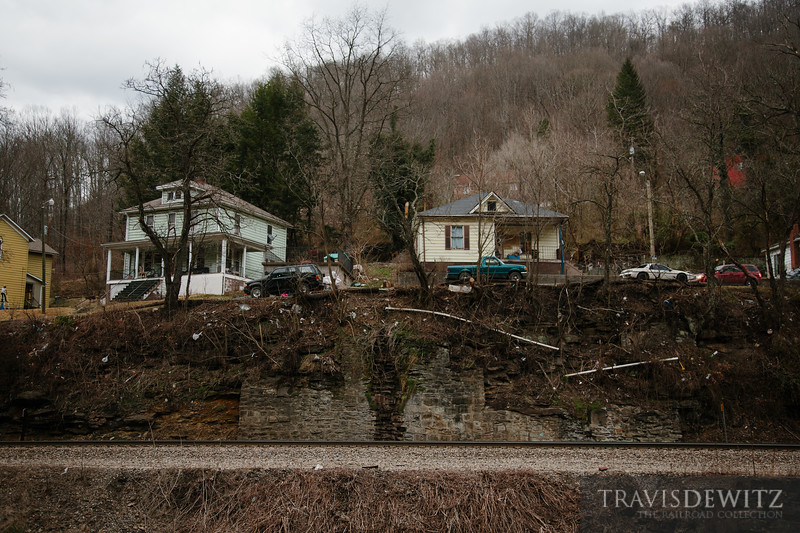 Homes in Northfork, West Virginia overlook the Norfolk Southern mainline.