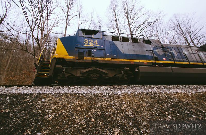 Looking straight up at CSX 324 near Thurmond, West Virginia.
