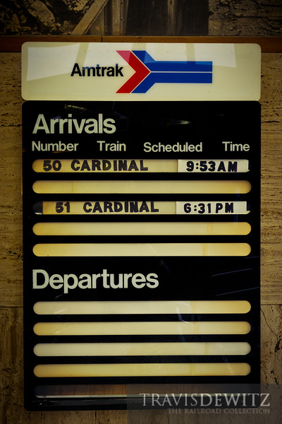 Amtrak Cardinal schedule at Prince, West Virginia station.