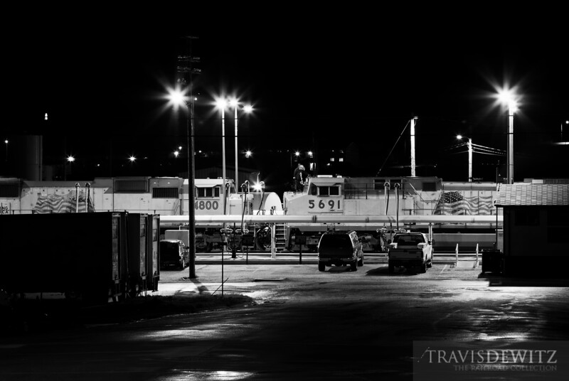 """Locomotives get serviced on a late night at Union Pacific's diesel fuel depot in Rawlins, Wyoming.  Travis Dewitz <a href=""""http://www.therailroadcollection.com/latest-works/"""" target=""""_blank"""">The Railroad Collection</a>"""