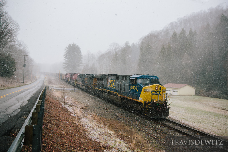 CSX locomotive 5006 leads the charge through a heavy snow fall just outside of Pax, West Virginia.
