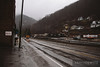 Norfolk Southern local runs through Northfork, West Virginia on a rainy dreary day.