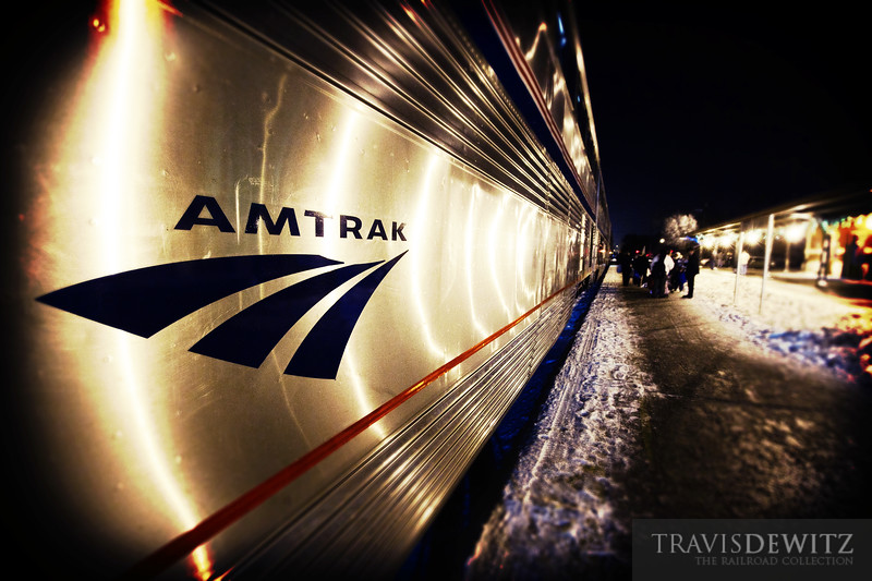 """A late Amtrak Empire Builder arrives on a cold night at La Crosse, Wisconsin.  Travis Dewitz <a href=""""http://www.therailroadcollection.com/latest-works/"""" target=""""_blank"""">The Railroad Collection</a>"""