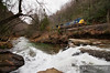 """A RJ Corman crew takes empty coal hoppers up the Loup Creek to Pioneer Fuel Company in Pax, West Virginia.  Travis Dewitz <a href=""""http://www.therailroadcollection.com/latest-works/"""" target=""""_blank"""">The Railroad Collection</a>"""