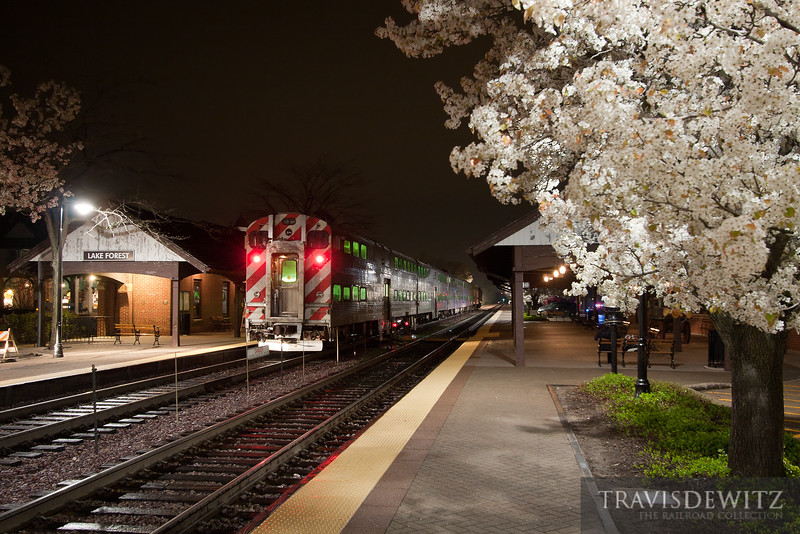 "Northbound Metra stops at Lake Forest station on a beautiful clear night.  Travis Dewitz <a href=""http://www.therailroadcollection.com/latest-works/"" target=""_blank"">The Railroad Collection</a>"