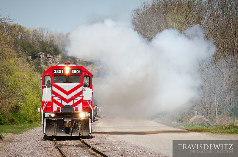 """Wisconsin & Southern GP38 3801 gives a smoke show in Rock Springs, WI.  Travis Dewitz <a href=""""http://www.therailroadcollection.com/latest-works/"""" target=""""_blank"""">The Railroad Collection</a>"""
