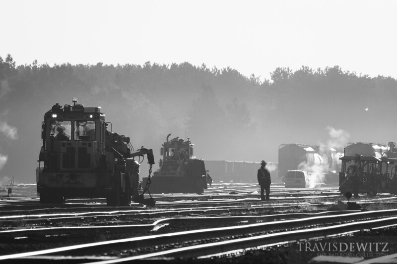 Union Pacific MOW workers start on early on a cold morning as they continue to rebuild the Altoona yard.
