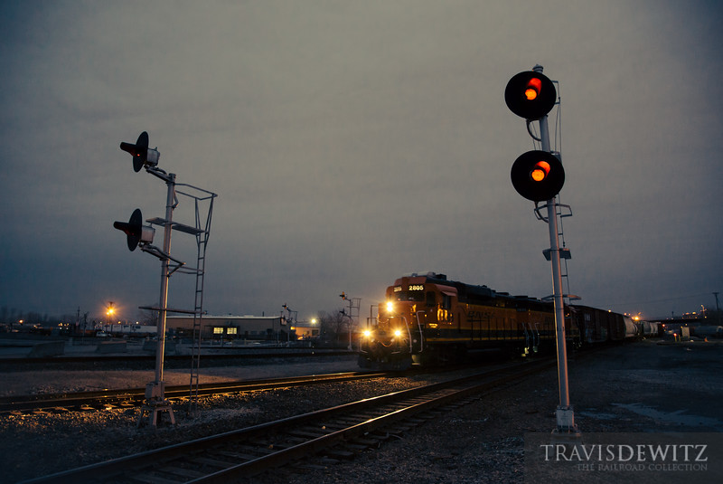 BNSF locomotive 2805 an EMD GP39M passes through Sante Fe Junction in Kansas City.