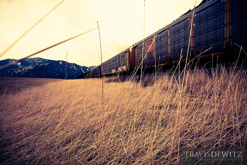 """Autoracks head east out of Paradise, Montana on a BNSF trackage right train.  Travis Dewitz <a href=""""http://www.therailroadcollection.com/latest-works/"""" target=""""_blank"""">The Railroad Collection</a>"""