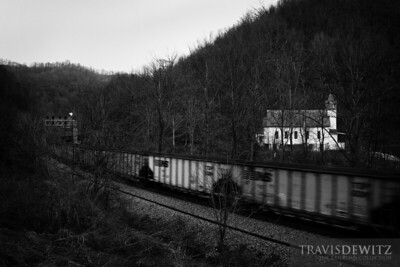 Never ending strings of coal hoppers travel this grade through Switchback, West Virginia.