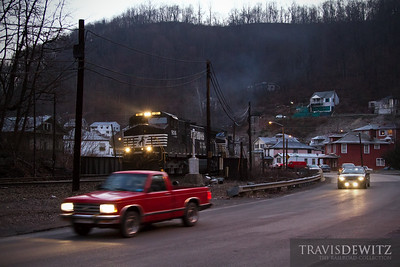 Empty Norfolk Southern coal train glides west through the old coal town of Keystone, West Virginia.