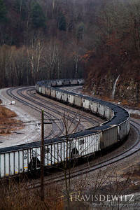 Top Gon coal hoppers can be seen curving along the mountain cut in Capels, West Virginia.