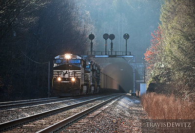 Norfolk Southern 7640 breaks the morning silence as it rushes west out of the Elkhorn Tunnel on the Pocahontas Division near Maybeury, West Virginia.