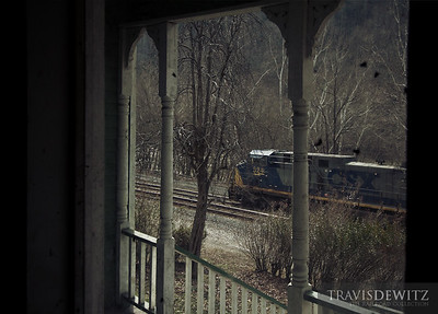 CSX 324 can be seen out the window of an old home in Thurmond, West Virginia.