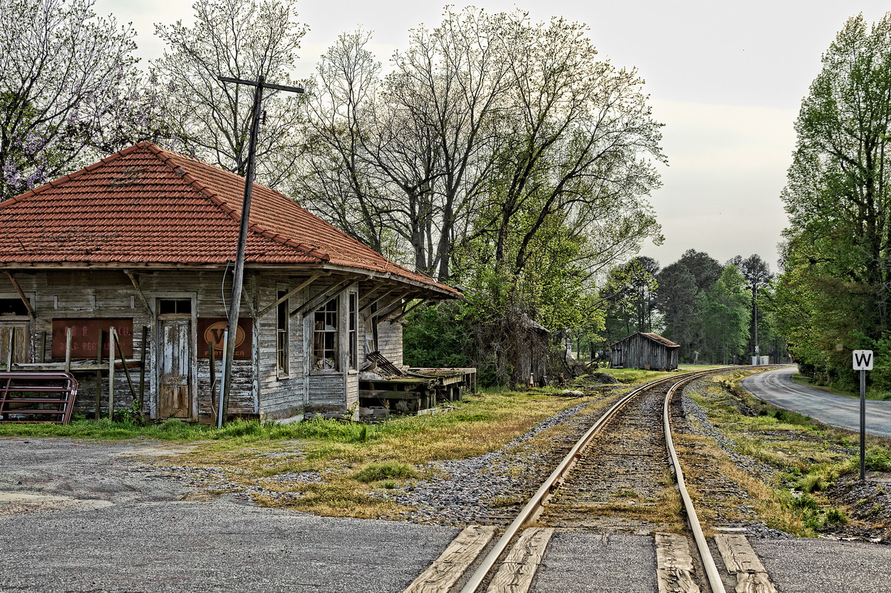 Abandoned Railroad Station with Orange Barrel Tile Roof