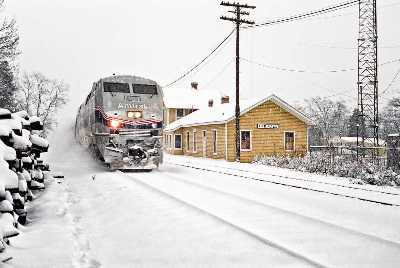 Amtrak Train in Snow in Newport News Virginia