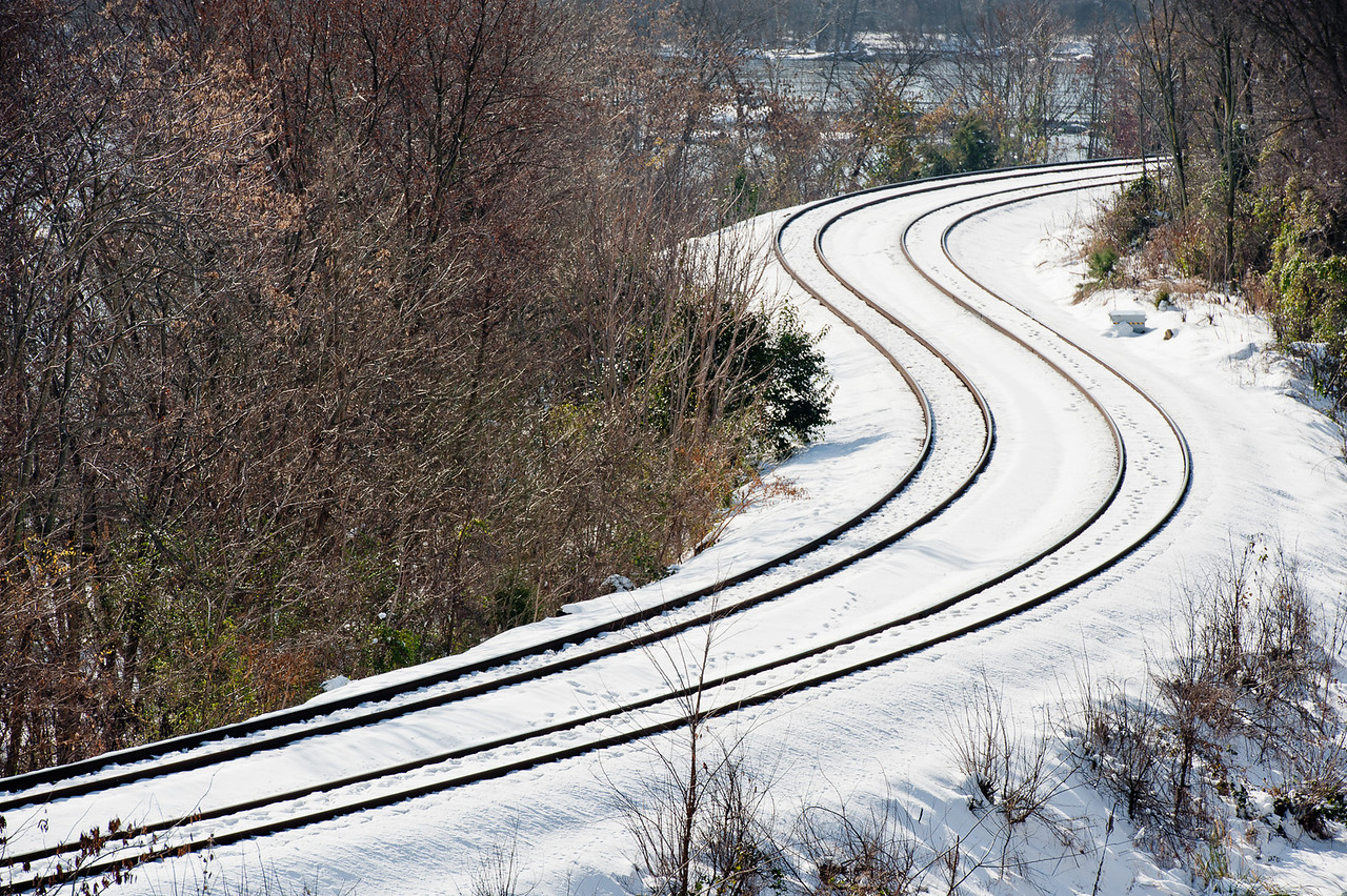 Railroad Tracks S-Curve in Snow