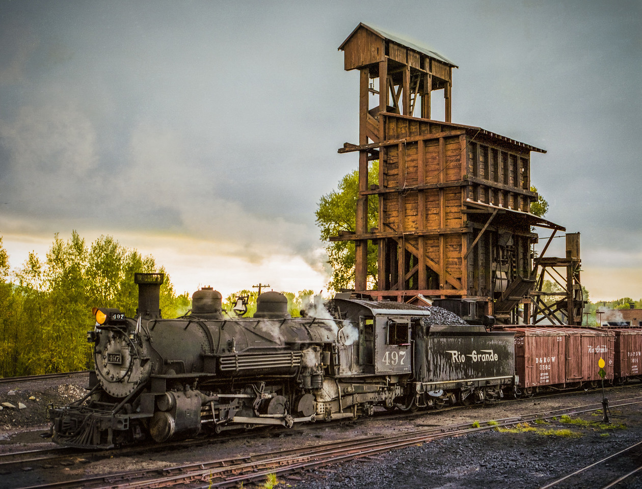 Cumbres & Toltec Engine Taking Coal and Water in Chama NM