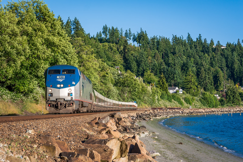 Amtrak along the Puget Sound