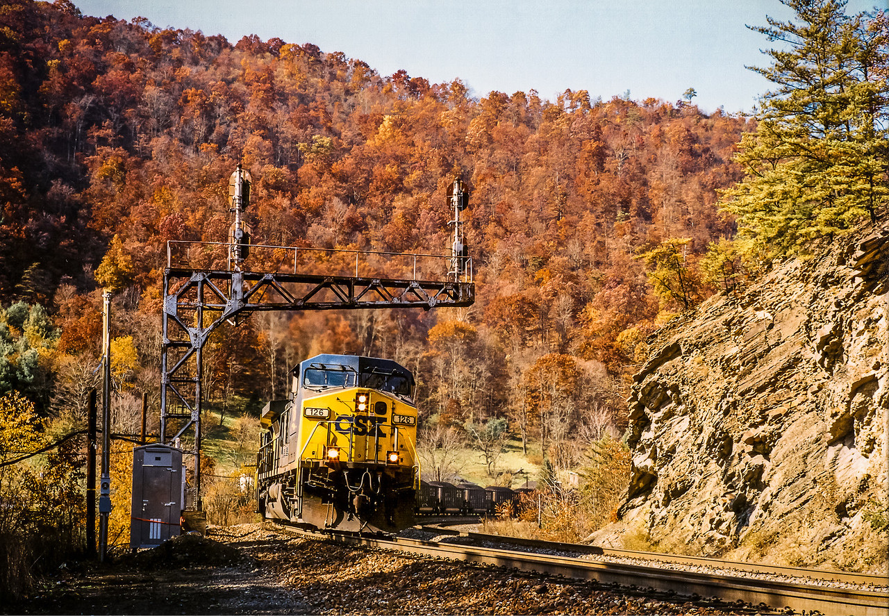 CSX hopper Train on Tuckahoe Curve West Virginia on an Autumn Day