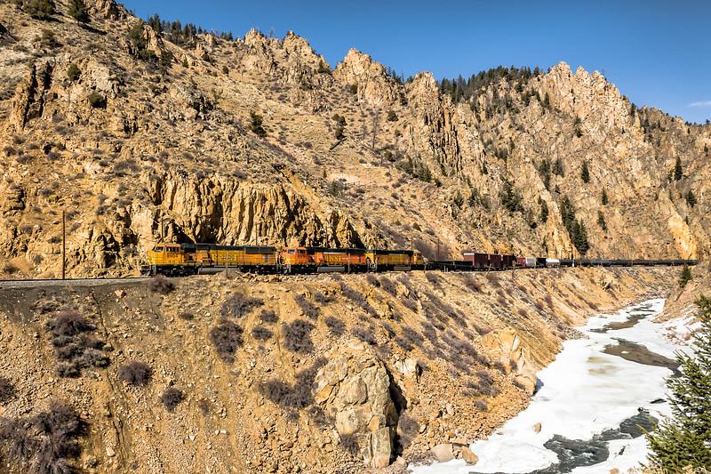 Burlington Northern Santa Fe Freight Train in Byers Canyon Colorado