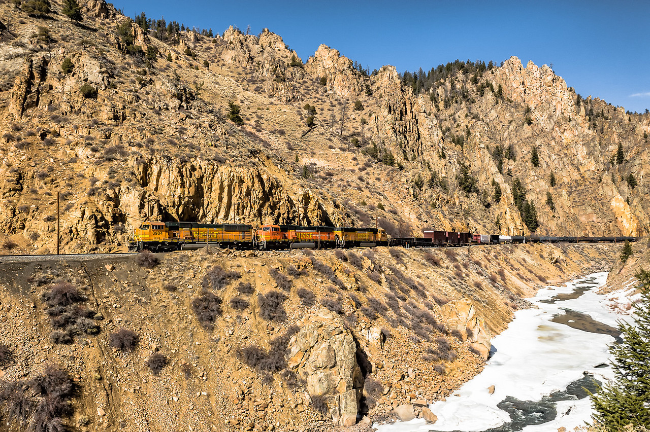 Burlington Northern Santa Fe Freight Train in Byers Canyon Colorado