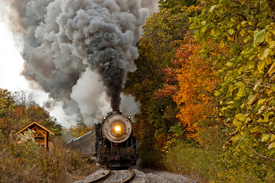 Steam Engine through the rural countryside on an autumn day.