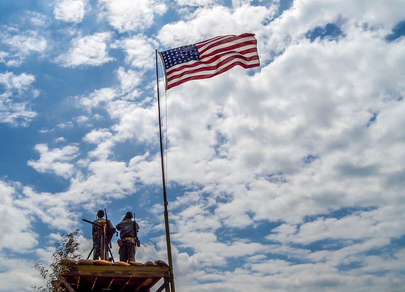 US Flag Over Watchtower