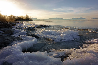 Frozen Sunrise at Utah Lake 01