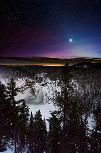 Venus Over Yellowstone River Upper Falls:  Yellowstone NP - Winter 2020
