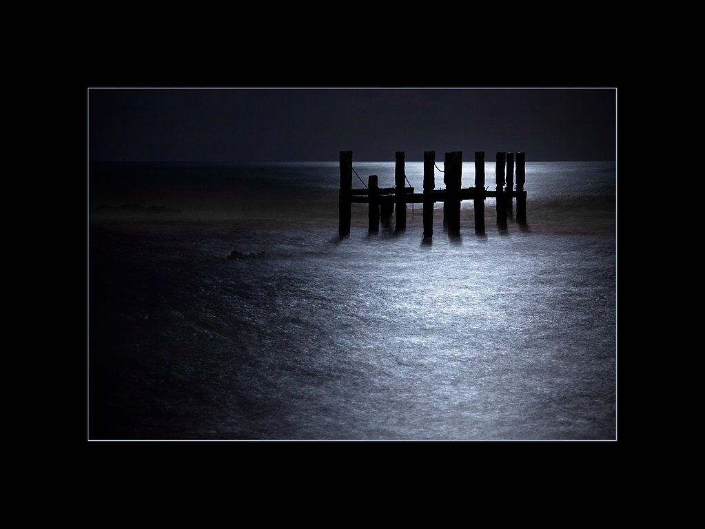 The pier in the moonlight, Mexico