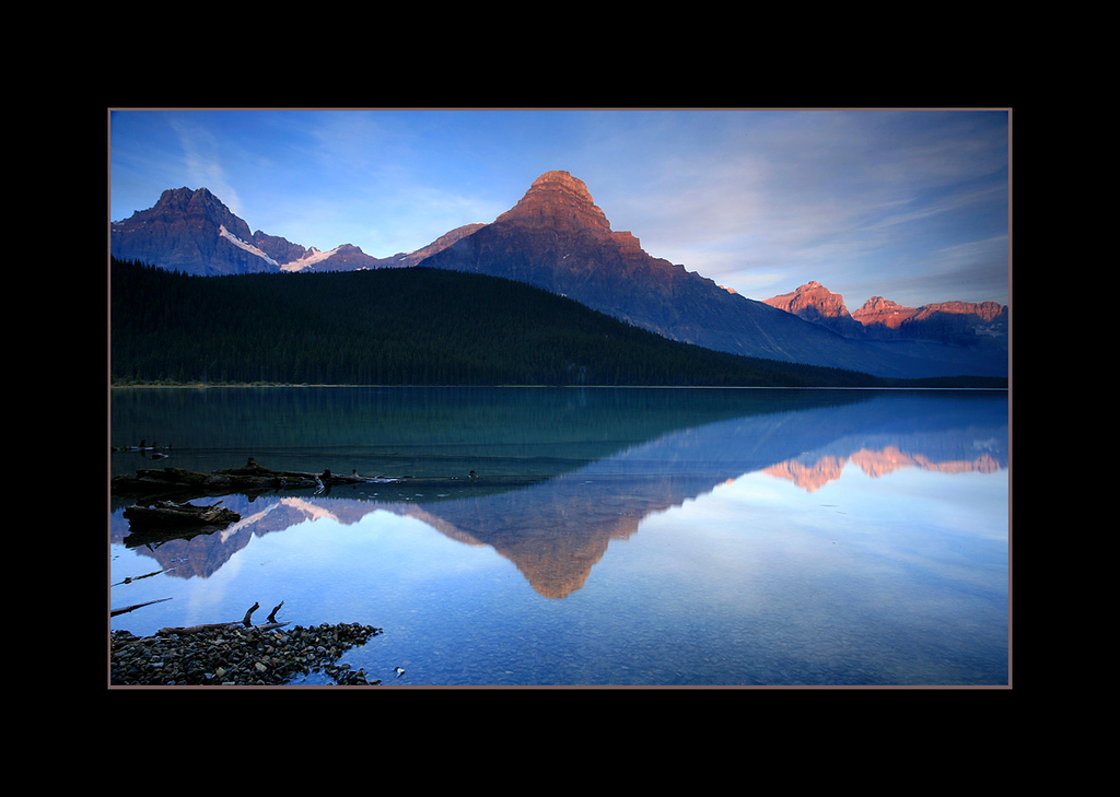 Sunrise over Lower Waterfowl Lake and Mount Chephren