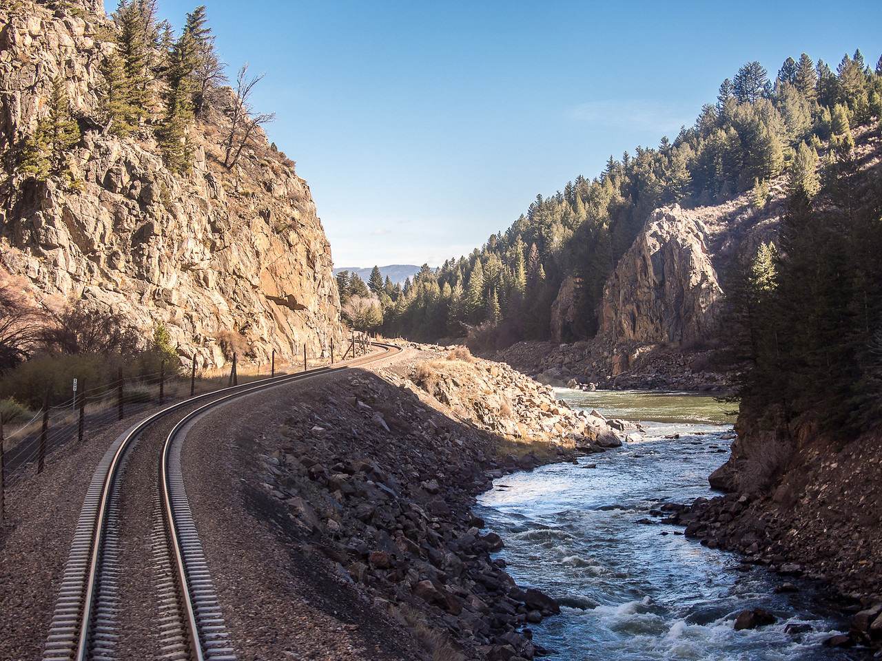 Looking out The Back of the California Zephyr as it Parallels the Colorado River in Northern Colorado.