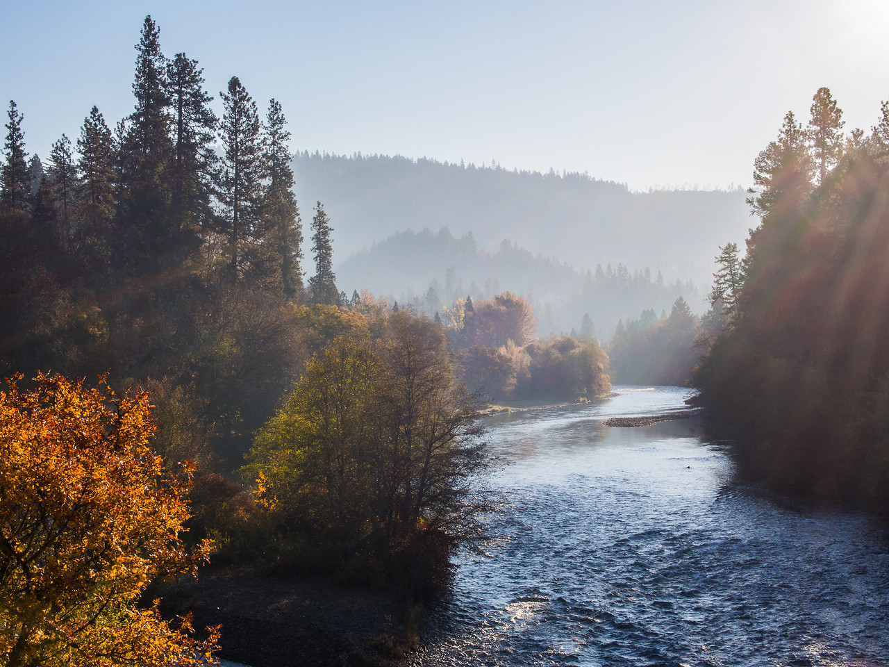 Foggy Morning on the Rogue River in Southern Oregon