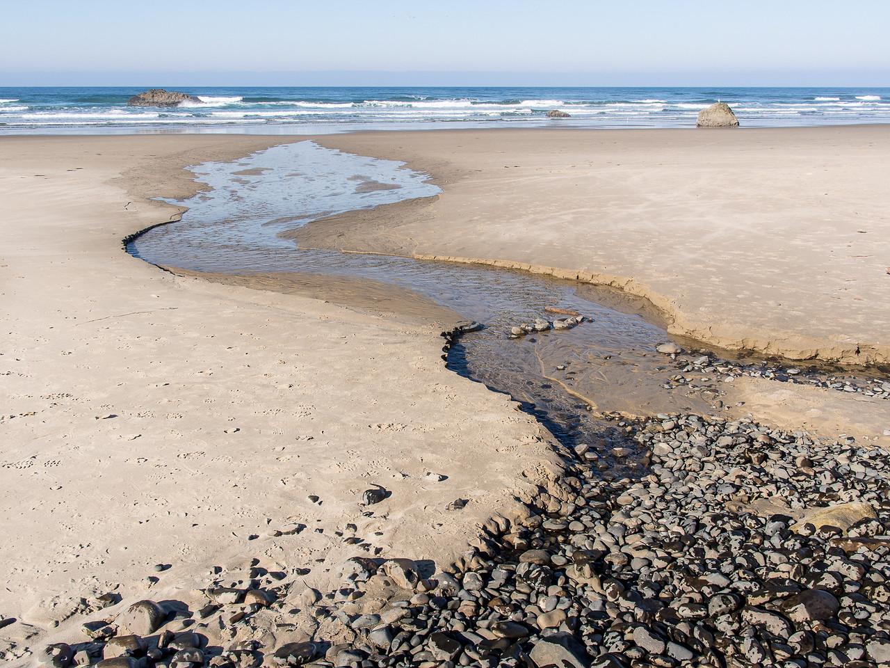 Beach and Stream at Hug Point, Oregon