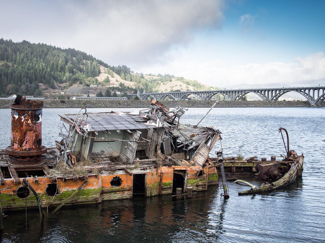 Sunken Tugboat, Gold Beach, Oregon