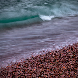Winter Waves And Glazed Rocks