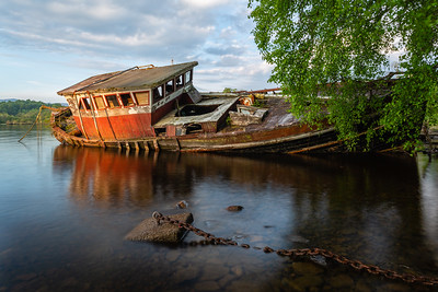 The old boat left to rot near Cherry Island, Loch Ness, Scotland