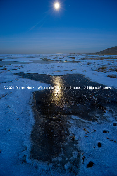 Winter Night at the Great Salt Lake