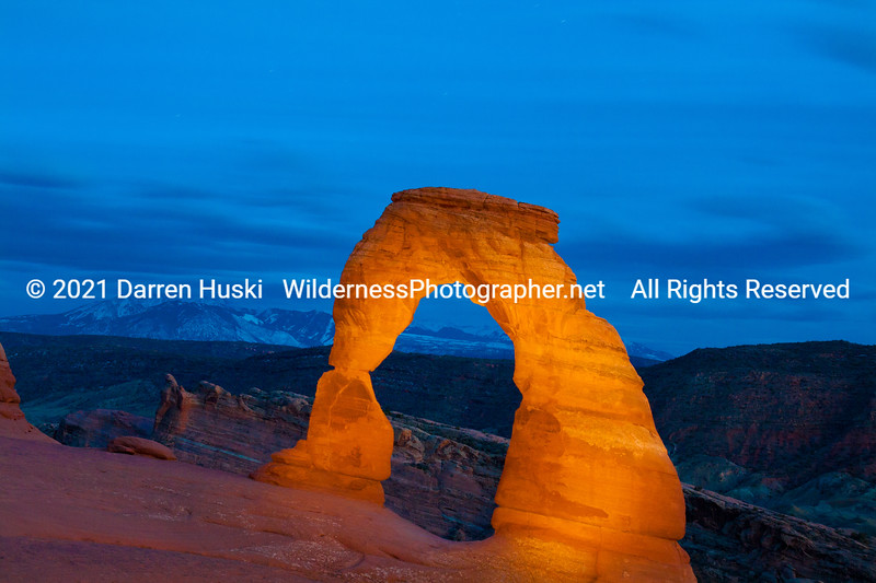Delicate Arch at twilight. Arches National Park, Utah.