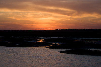 spring sunset at low tide-view from our dock
