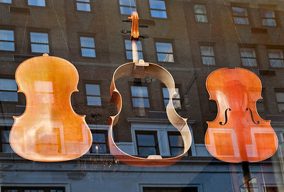 Deconstructed Cello & Reflection, Violin Repair Shop Window, Philadelphia. 2010